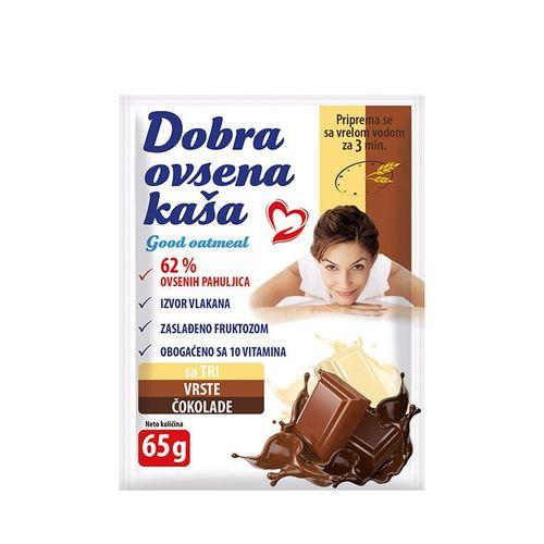 DOBRA OVSENA-ZOBENA KAŠA SA TRI VRSTE ČOKOLADE 65g